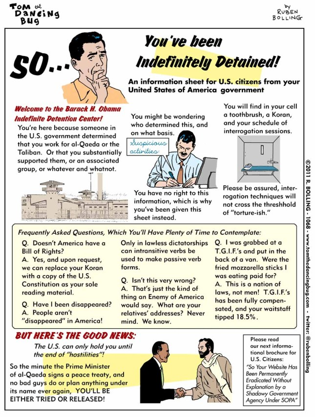 You've Been Indefinitely Detained! Helpful Information From Your U.S. Government!